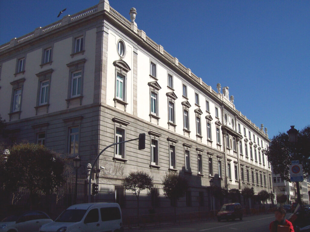 Fachada sur de la sede del Tribunal Supremo Español, en el distrito Centro de Madrid. Edificio de 1758.
